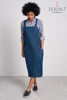 Seasalt Blue High Moorland Pinafore Dress Mid Indigo Wash