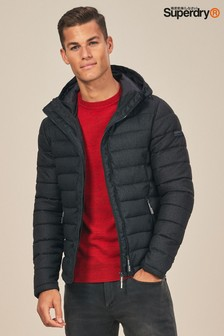 Superdry Black Hooded Double Zip Tweed Fuji Jacket