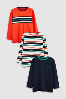 Striped Long Sleeve Tops Three Packs (3-16yrs)