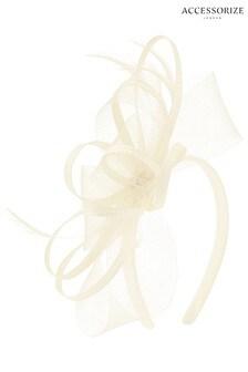 Accessorize Cream Braid & Crin Loops Fascinator