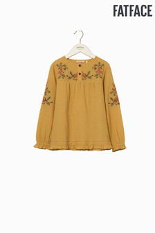 FatFace Yellow Embroidered Yoke Blouse