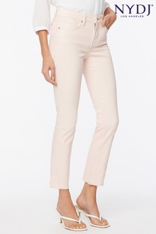 NYDJ Sheri Slim Ankle Jeans with Raw Hem - Marisol Carnation (Blush Pink)
