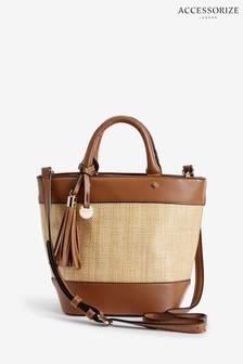 Accessorize Tan Raffia Stripe Handheld Bag
