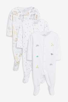 3 Pack GOTS Organic Cotton Watercolour Embroidered Animal Sleepsuits (0mths-2yrs)
