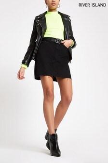 River Island Black Denim Mini Skirt