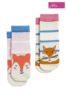 Joules Pink Neat Feet Character Socks 2 Pack