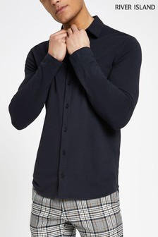 River Island Navy Long Sleeve Button Through Tee