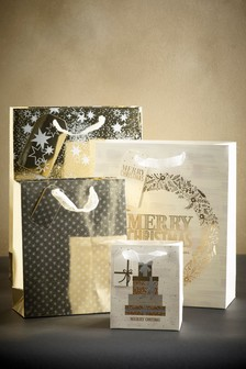 Set of 4 Gold Christmas Gift Bags