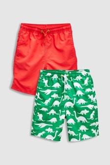 Dinosaur Print Swim Shorts Two Pack (3-16yrs)