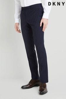 DKNY slim-fit marineblauwe gestreepte broek
