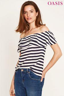 Oasis Blue Stripe Bardot Top