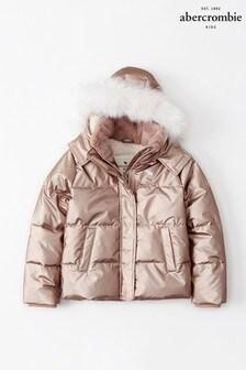 معطف مبطن فراء صناعي وردي من Abercrombie & Fitch
