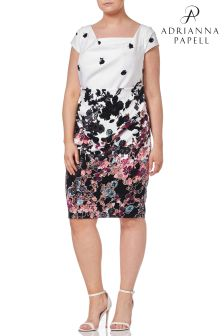 Adrianna Papell White Plus Floral Bliss Printed Dress
