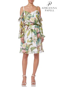 Adrianna Papell White Botanical Printed Ruffle Blouson Dress