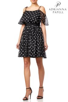 Adrianna Papell Dot Pleated Tulle Dress
