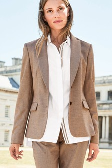 Texture Tailored Single Breasted Jacket