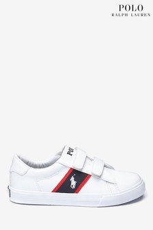 Pantofi sport cu logo și bandă velcro Ralph Lauren Geoff albi