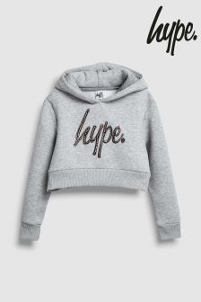 Hype. Kapuzensweatshirt mit Folien-Logo, grau