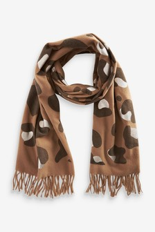 Animal Print Foil Midweight Scarf