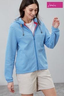 Sweat à capuche Joules Adelyn rayé bleu zippé