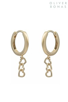 Oliver Bonas Lovable Hearts Gold Plated Brass Earrings