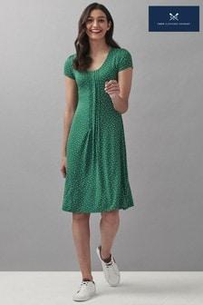 Crew Clothing Company Green Short Sleeve Jersey Pleat Front Tea Dress