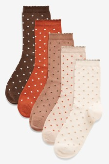 Metallic Polka Dot Ankle Socks Five Pack