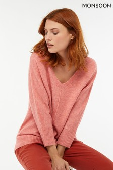 Monsoon Ladies Pink Perrie Pretty Nep Boxy V-Neck Jumper