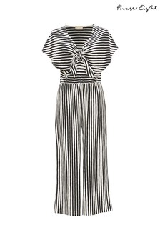 Phase Eight Blue Janine Linen Striped Jumpsuit