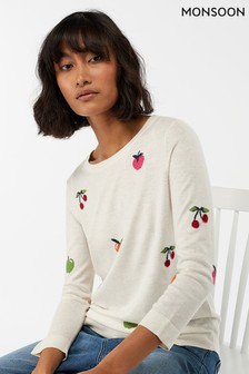 Pull Monsoon Nori femme crème original en jacquard à motif fruits