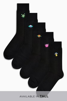 Alien Embroidered Socks Five Pack