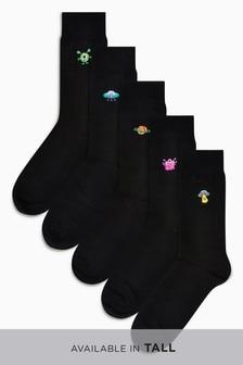 Набор из пяти пар носков с вышивкой