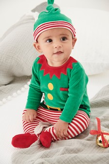 Babies Christmas Elf Dress Up Sleepsuit And Hat (0mths-2yrs)