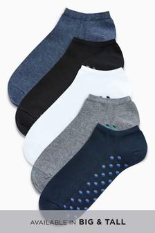 Lot de cinq paires de chaussettes de sport à voûte rembourrée et imprimé géométrique