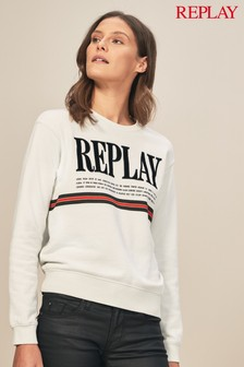 Replay® White Vintage Logo Sweatshirt