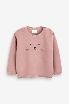 Bunny Face Knitted Jumper (0mths-2yrs)
