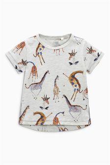 Watercolour Giraffe Print T-Shirt (3mths-6yrs)