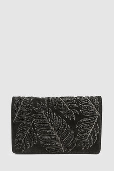 Leather Embellished Clutch
