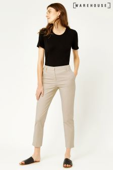Warehouse Stone Compact Cotton Trouser