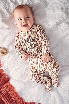 Leopard Print Little Sister Slogan Sleepsuit (0-18mths)
