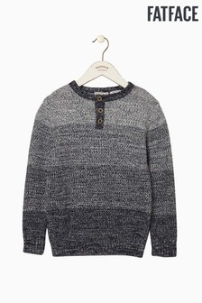 FatFace Blue Henley Block Stripe Knit Jumper