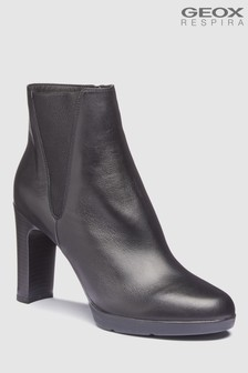 Geox Annya High Black Heeled Leather Ankle Boots
