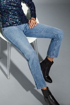 Mid Blue                     Straight Non-Stretch Jeans
