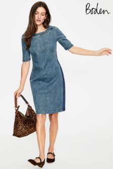 Boden Mid Vintage With Side Stripe Rhea Denim Dress