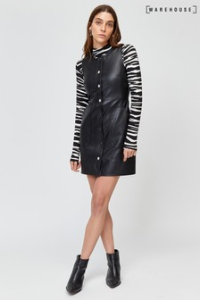 Warehouse Black Faux Leather Pinafore Dress