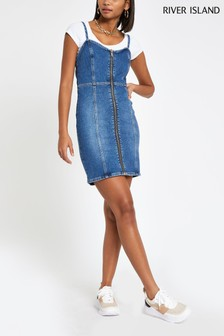 River Island Mid Blue Zip Front Dress