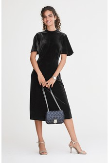 Velvet Flute Sleeve Midi Dress