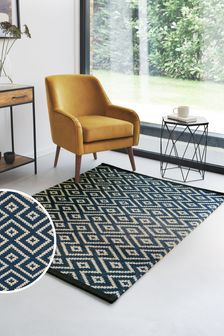 Geo Diamond Navy Rug