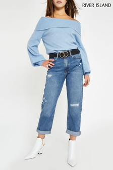 River Island Petite Mid Wash Florida Mom Jean