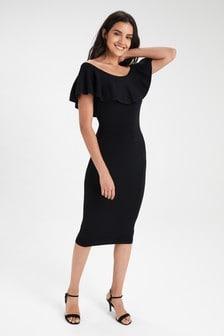 Платье с присборенным дизайном и открытыми плечами
